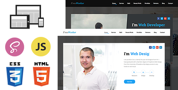 FreeWorker – Personal Portfolio One Page HTML Template