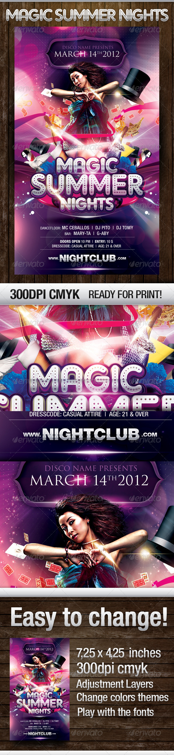 Magic Nights Party Flyer - Flyers Print Templates