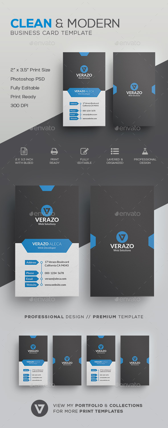 Clean Vertical Business Card Template By Verazo GraphicRiver - Business card vertical template