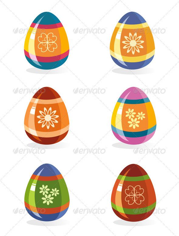 Easter Eggs Icon Set - Decorative Symbols Decorative
