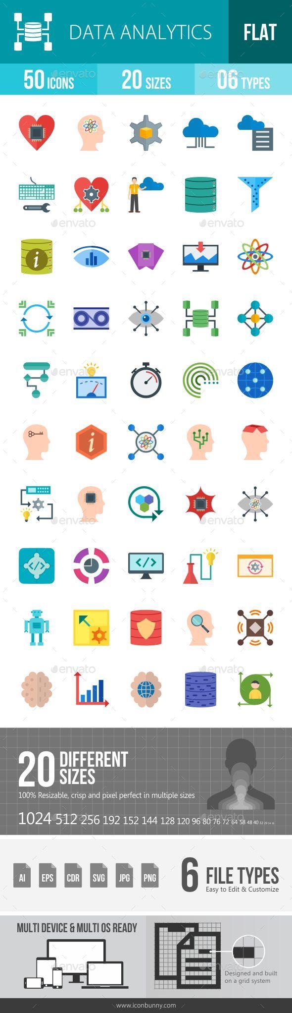 Data Analytics Flat Multicolor Icons - Icons