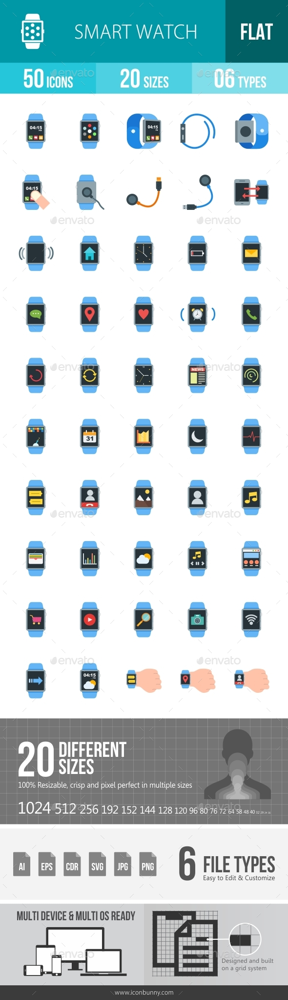 Smart Watch Flat Multicolor Icons - Icons