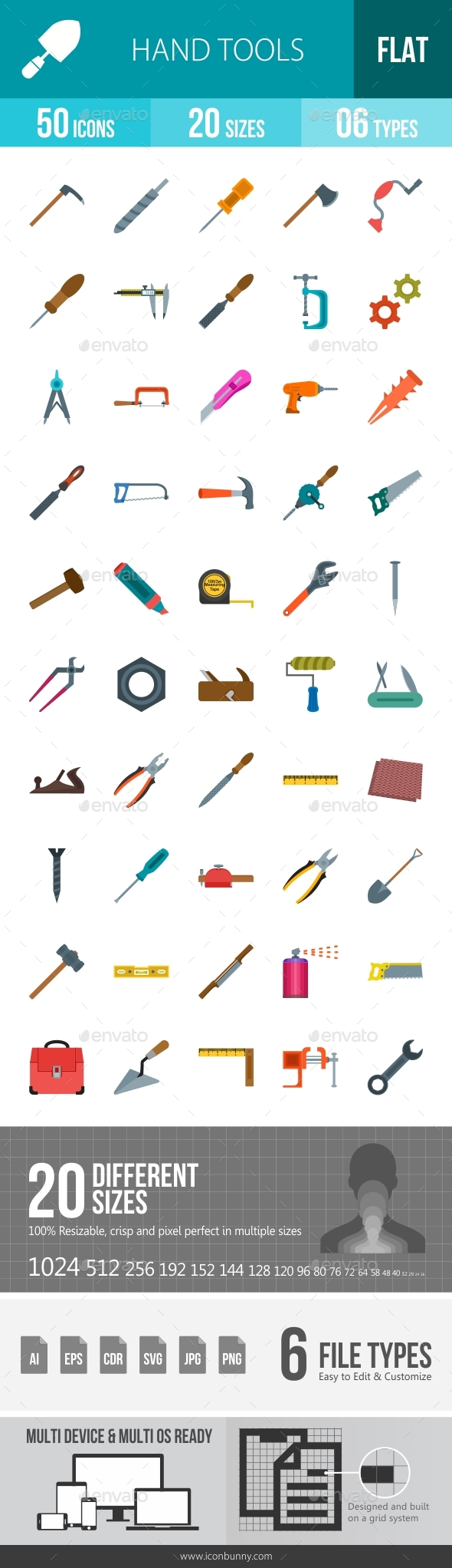 Hand Tools Flat Multicolor Icons - Icons