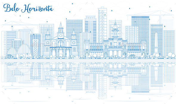 Outline Belo Horizonte Skyline with Blue Buildings. - Buildings Objects