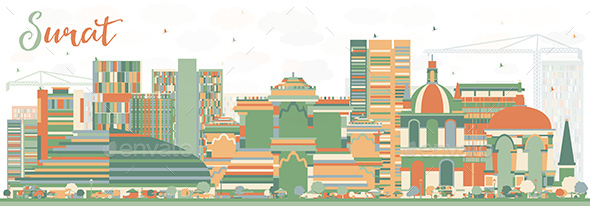 Abstract Surat Skyline with Color Buildings. - Buildings Objects