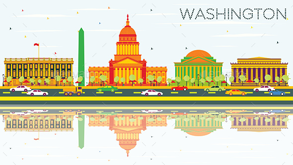 Washington DC Skyline with Color Buildings, Blue Sky and Reflections. - Buildings Objects