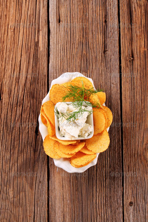 Corn chips and curd cheese - Stock Photo - Images