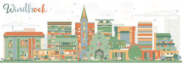 Abstract Windhoek Skyline with Color Buildings. - Buildings Objects