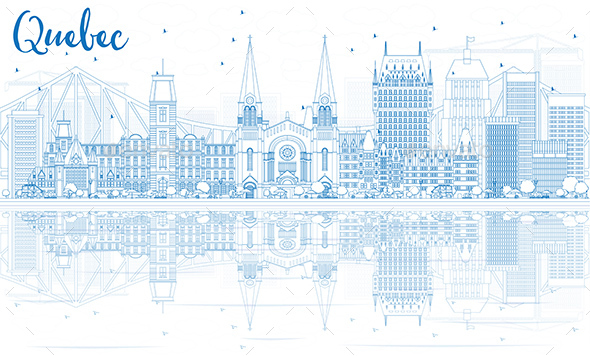 Outline Quebec Skyline with Blue Buildings. - Buildings Objects
