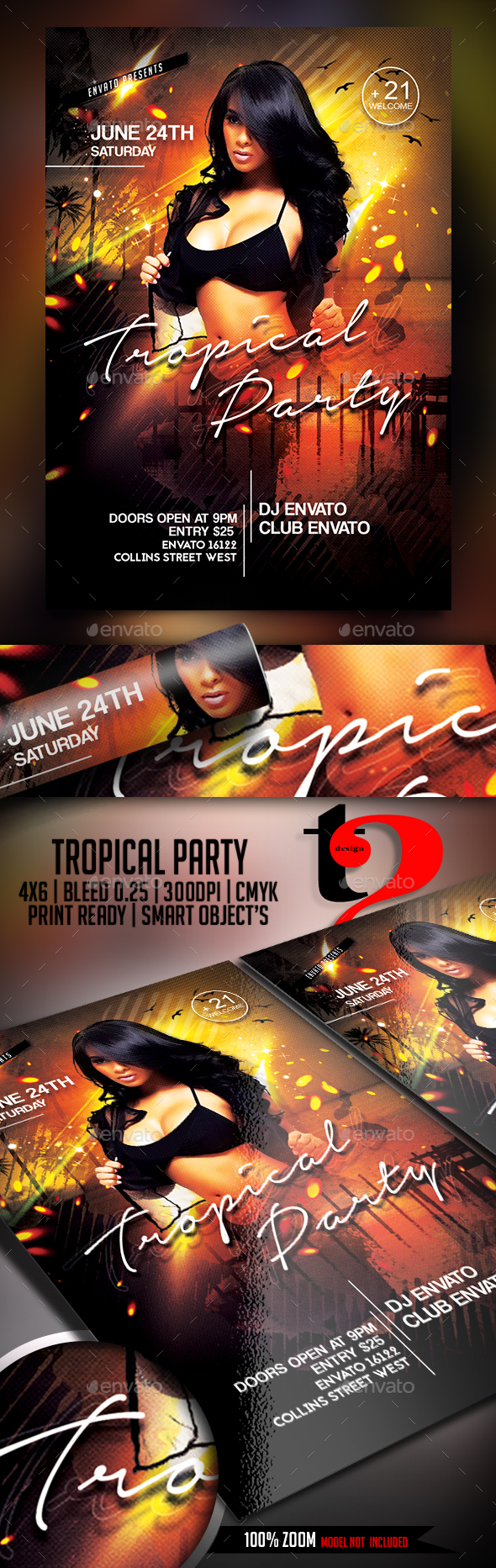 Tropical Party Flyer Template - Clubs & Parties Events