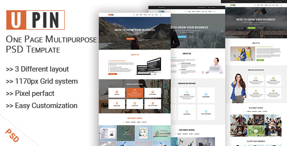 UPIN – One Page Multipurpose PSD Template