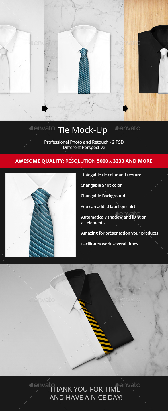 Tie Mock-Up - Apparel Product Mock-Ups
