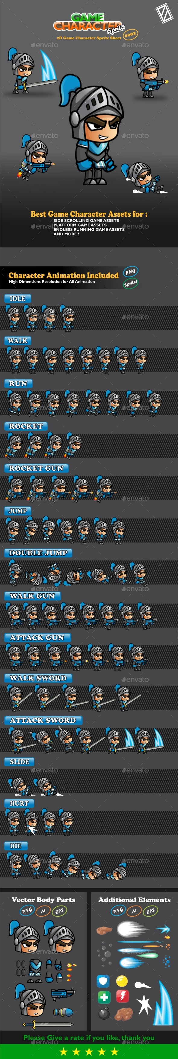 Blue Knight 2D Game Character Sprites 002 - Sprites Game Assets