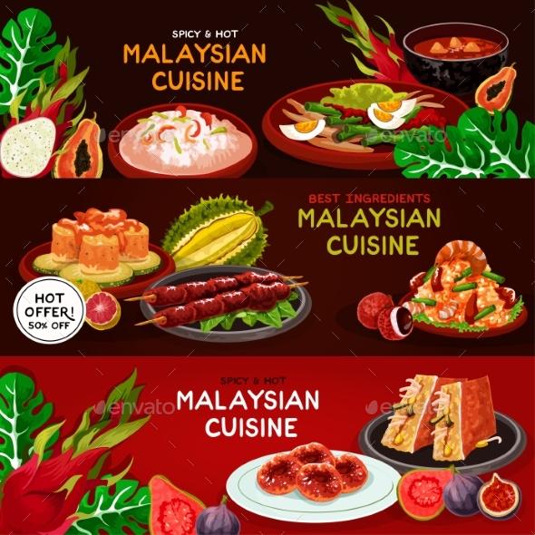 Malaysian Cuisine Restaurant Banner Set Design - Food Objects