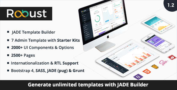 Robust - Responsive Bootstrap 4 Admin Template + Jade Builder - Admin Templates Site Templates