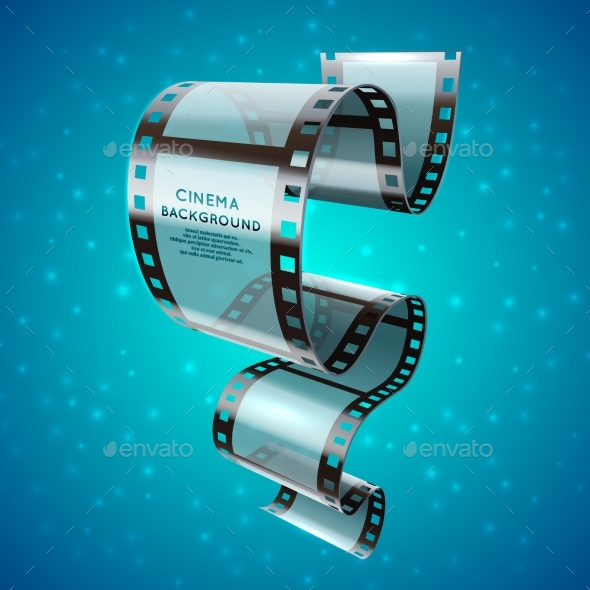 Abstract Cinema Retro Poster with Film Strip Roll - Objects Vectors