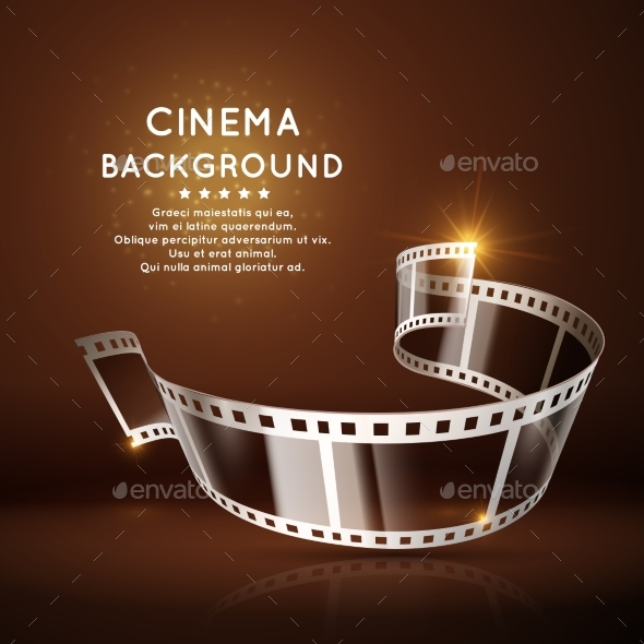 Vector Movie Poster with Film 35Mm Roll, Vintage - Objects Vectors