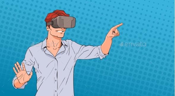 Man Wears Virtual Reality Digital Glasses Pop Art - Computers Technology