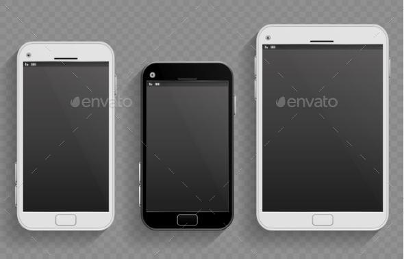 Touch Screen Mobile Phones, Smartphones - Objects Vectors