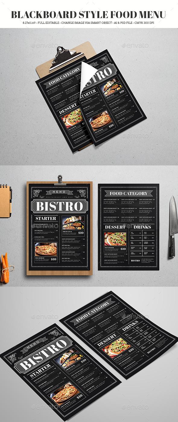 Blackboard Style Food Menu - Food Menus Print Templates