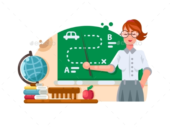 School Teacher Stands Near Blackboard - People Characters