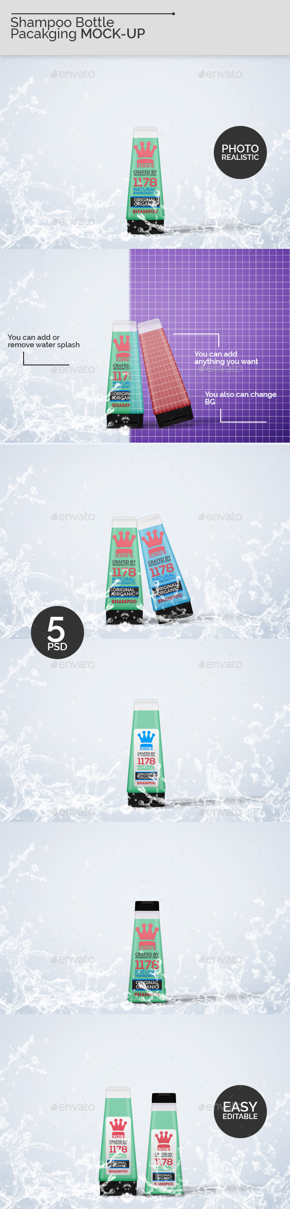 Shampoo Bottle Packaging Mock-Ups - Beauty Packaging