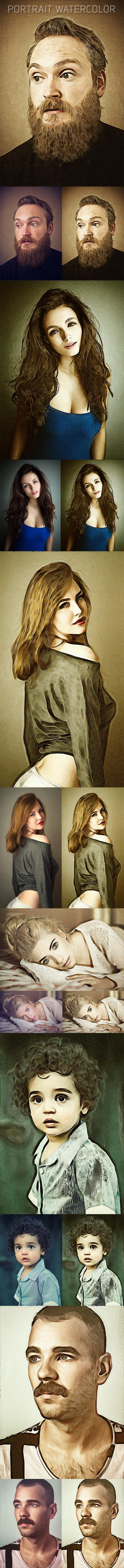 Portrait Watercolor - Photo Effects Actions