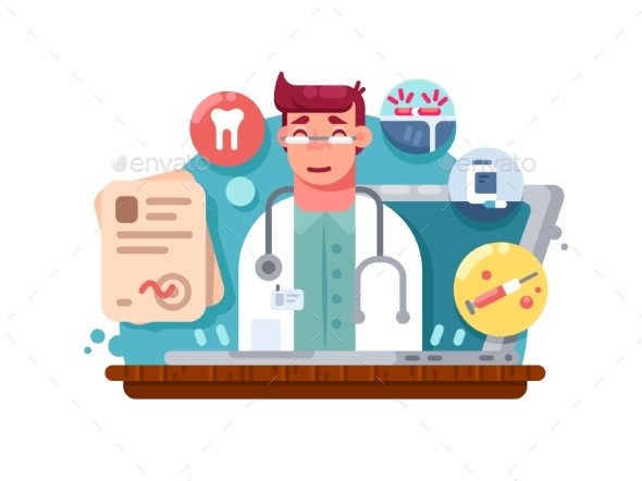 Service Online Doctor - People Characters
