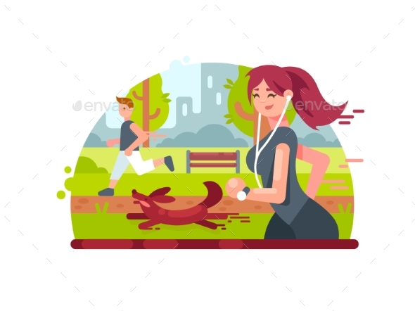 Young Girl Running in Park - People Characters