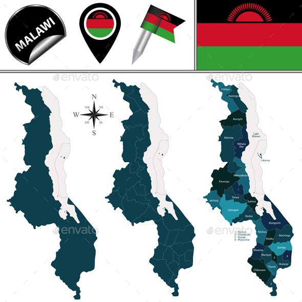 Map of Malawi with Named Districts - Travel Conceptual