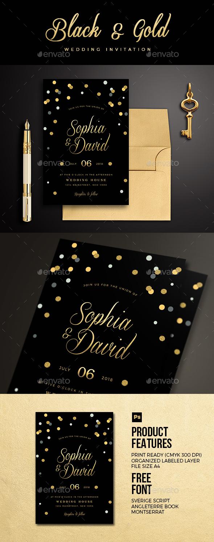 Black & Gold Wedding Invitation - Wedding Greeting Cards