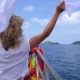 Young Curly Woman Sailing on Boat in Thailand - VideoHive Item for Sale