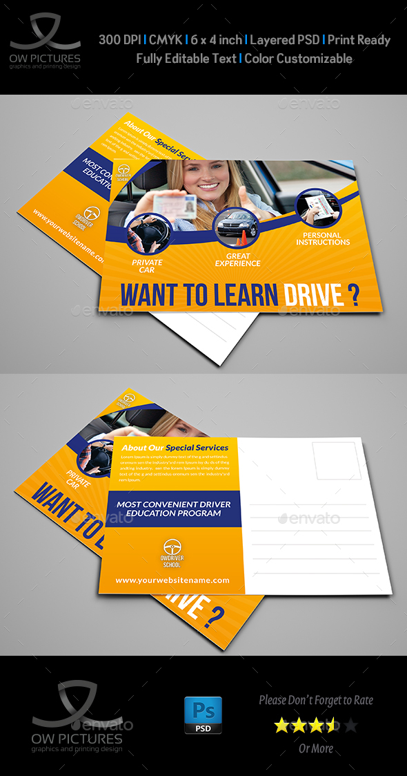 Driving School Postcard Template - Cards & Invites Print Templates