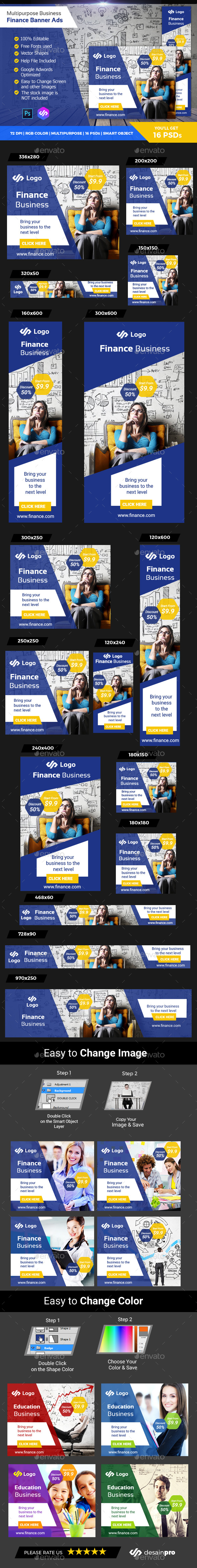 Business Finance Banner Ads - Banners & Ads Web Elements
