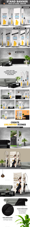 Banner Stand Mock Ups Scene Creator - Signage Print