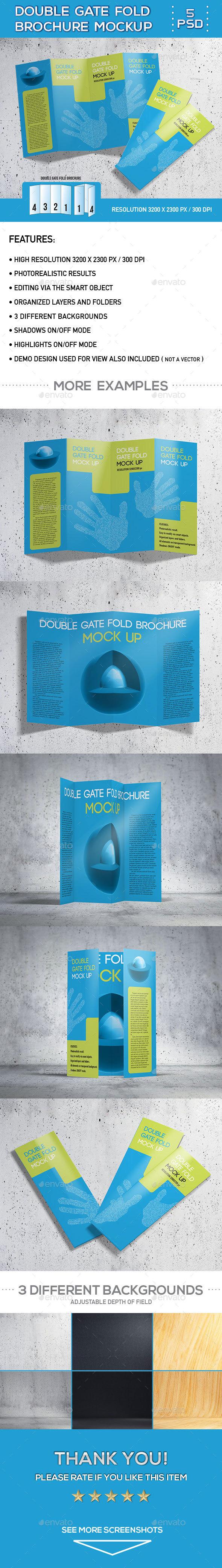 Double Gate Fold Brochure Mock-Up - Brochures Print