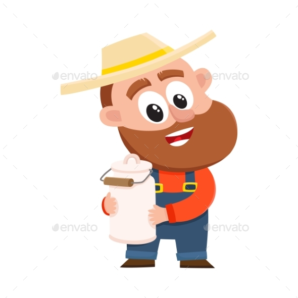Gardener Character Holding Retro Milk Jug - People Characters