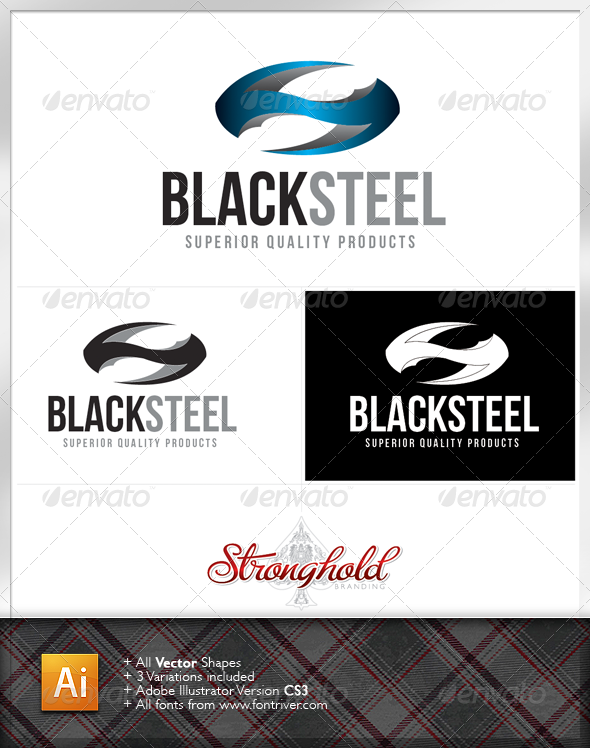 Black Steel Logo Template - Letters Logo Templates