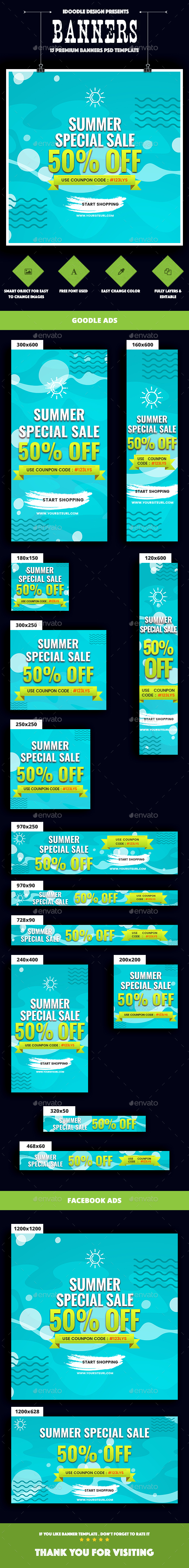 Summer Sale Banners Ad - Banners & Ads Web Elements