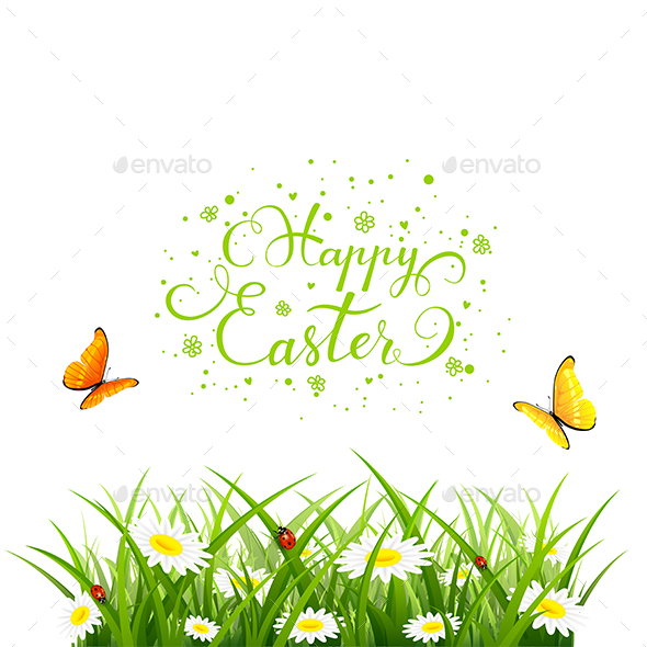 Easter Background with Butterflies and Flowers in Grass - Flowers & Plants Nature