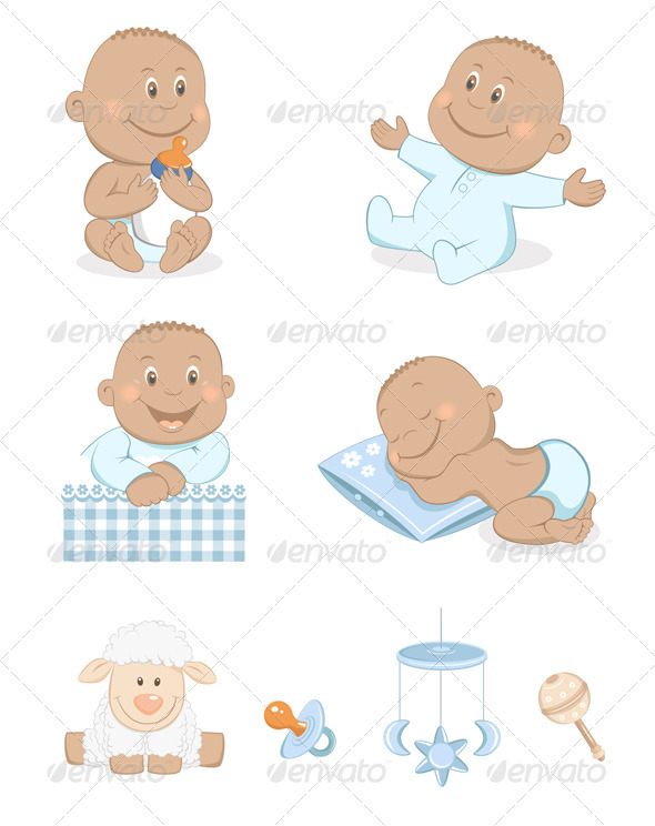 Black Baby Boy With Toys And Accessories  - People Characters