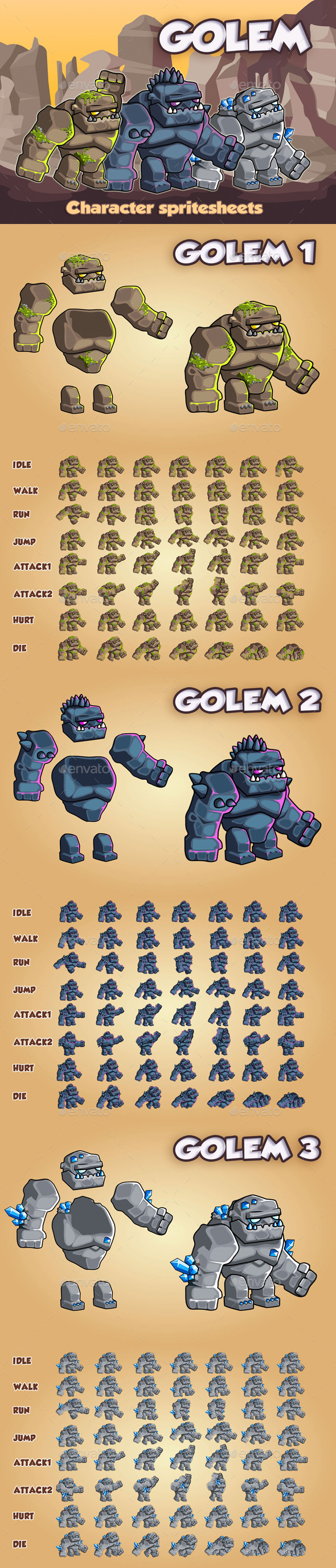 Golems 2D Game Character Sprite Sheet - Sprites Game Assets