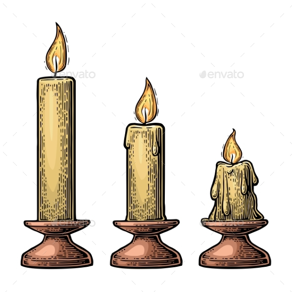 Process of Candle Burning - Miscellaneous Vectors