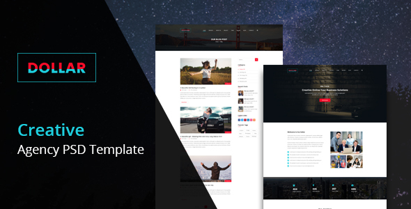 Dollar - Creative Agency One Page PSD Template - PSD Templates