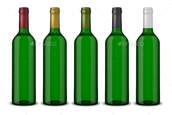 5 Realistic Green Bottles of Wine - Food Objects