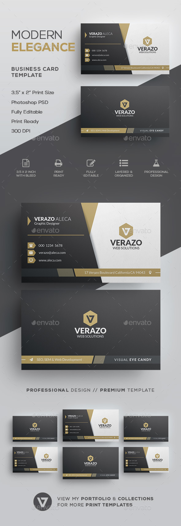 Elegant Business Card Template by verazo | GraphicRiver