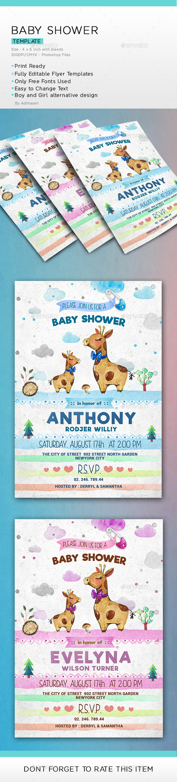 Baby Shower Watercolor - Invitations Cards & Invites