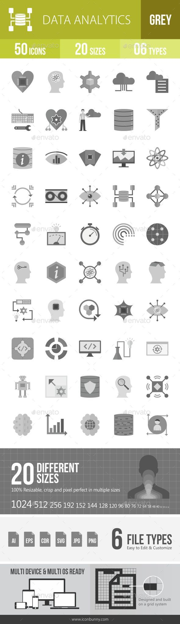 Data Analytics Greyscale Icons - Icons