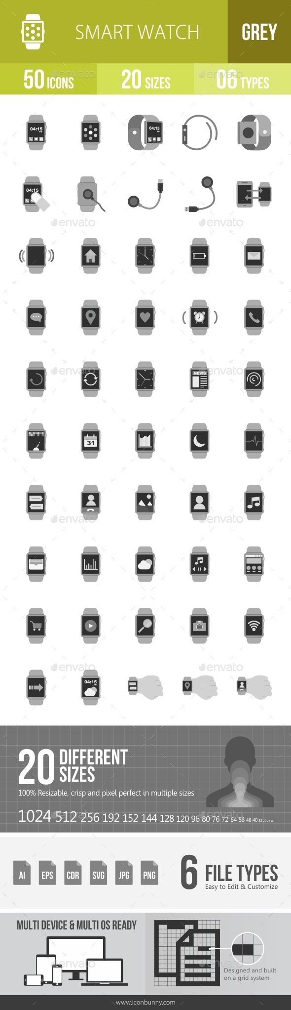 Smart Watch Greyscale Icons - Icons