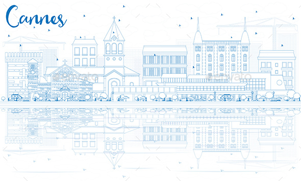Outline Cannes Skyline with Blue Buildings and Reflections. - Buildings Objects